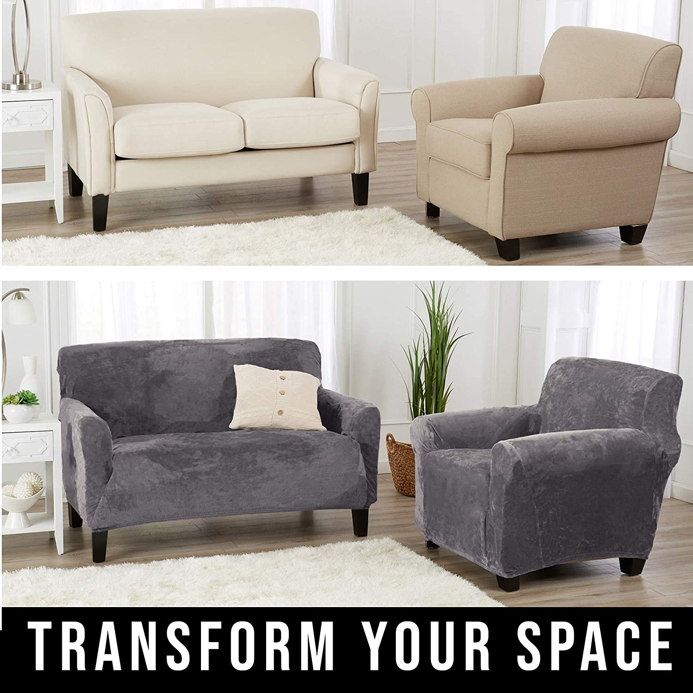 Velvet Sofa Couch Furniture Protector High Stretch for 3 Seat Sofa. Great Bay Home Velvet Plush Stretch Sofa Slipcover Soft Anti-Slip Sofa- 3 Seater, White