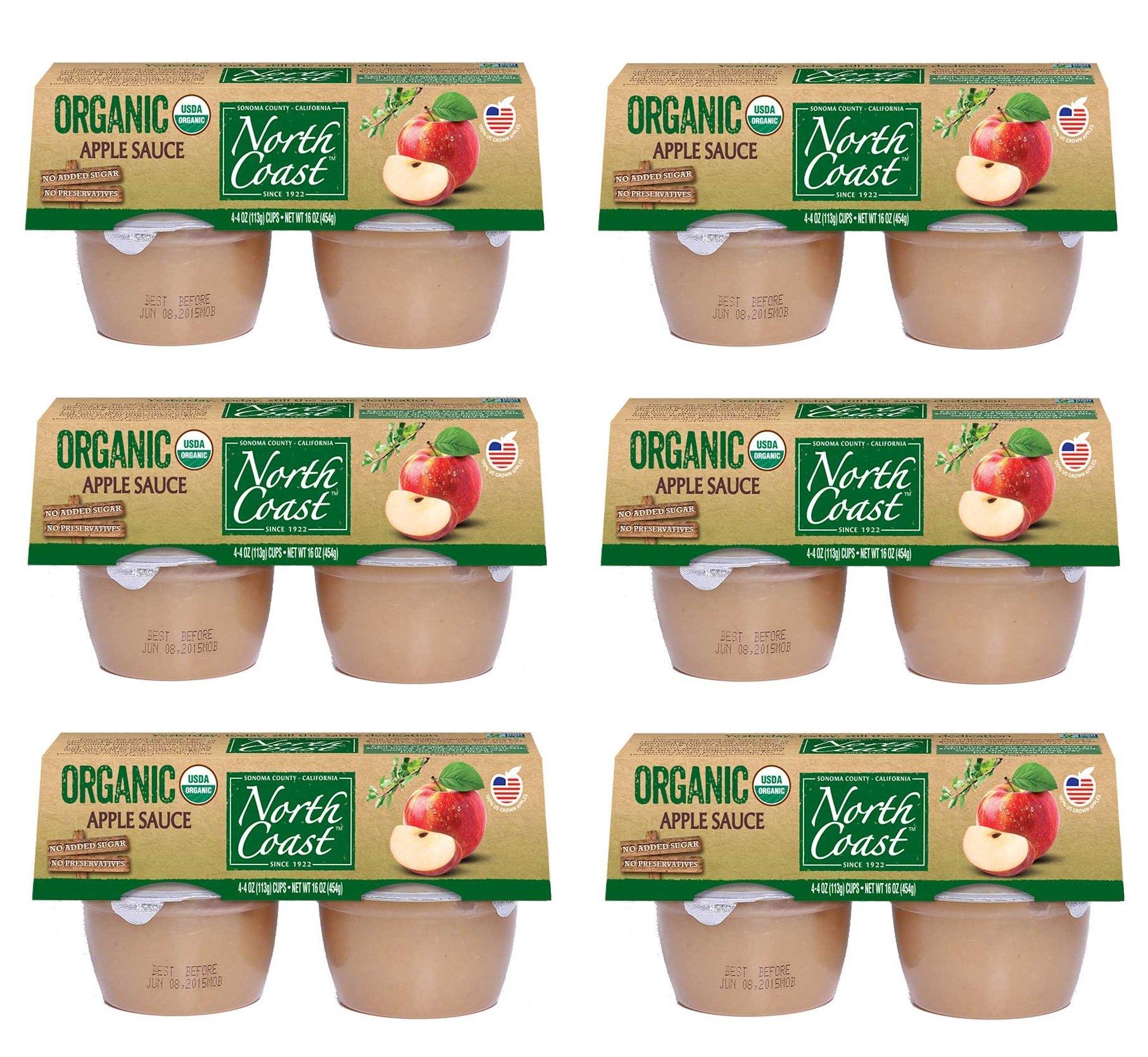 North Coast Organic Apple Sauce 4ct, 4oz Cups (Pack of 6)