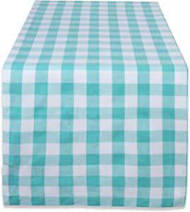DII 100% Cotton, Machine Washable, Dinner, Everyday Use Table Runner, 14x72, Aqua & White Check