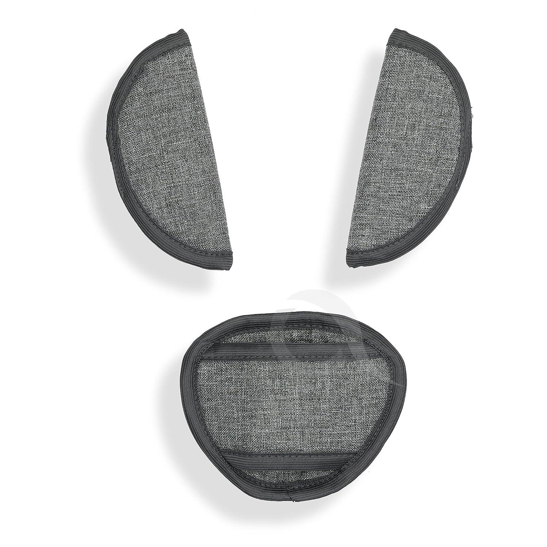 BELTS PADS SHOULDER STRAP & CROTCH cover UNIVERSAL Fits most buggy, stroller, car seat (JJ L grey) olobaby