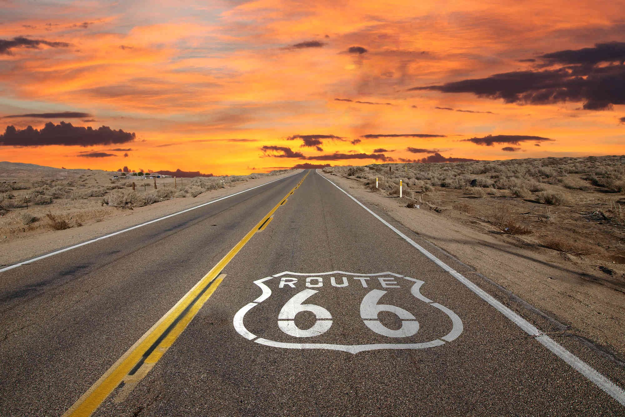 12-Feet wide by 8-Feet high. Prepasted robust wallpaper mural from a photo of: Route 66 an American Movies Icon. Our murals are easy to install remove and reuse (hang again)If you do as in our video