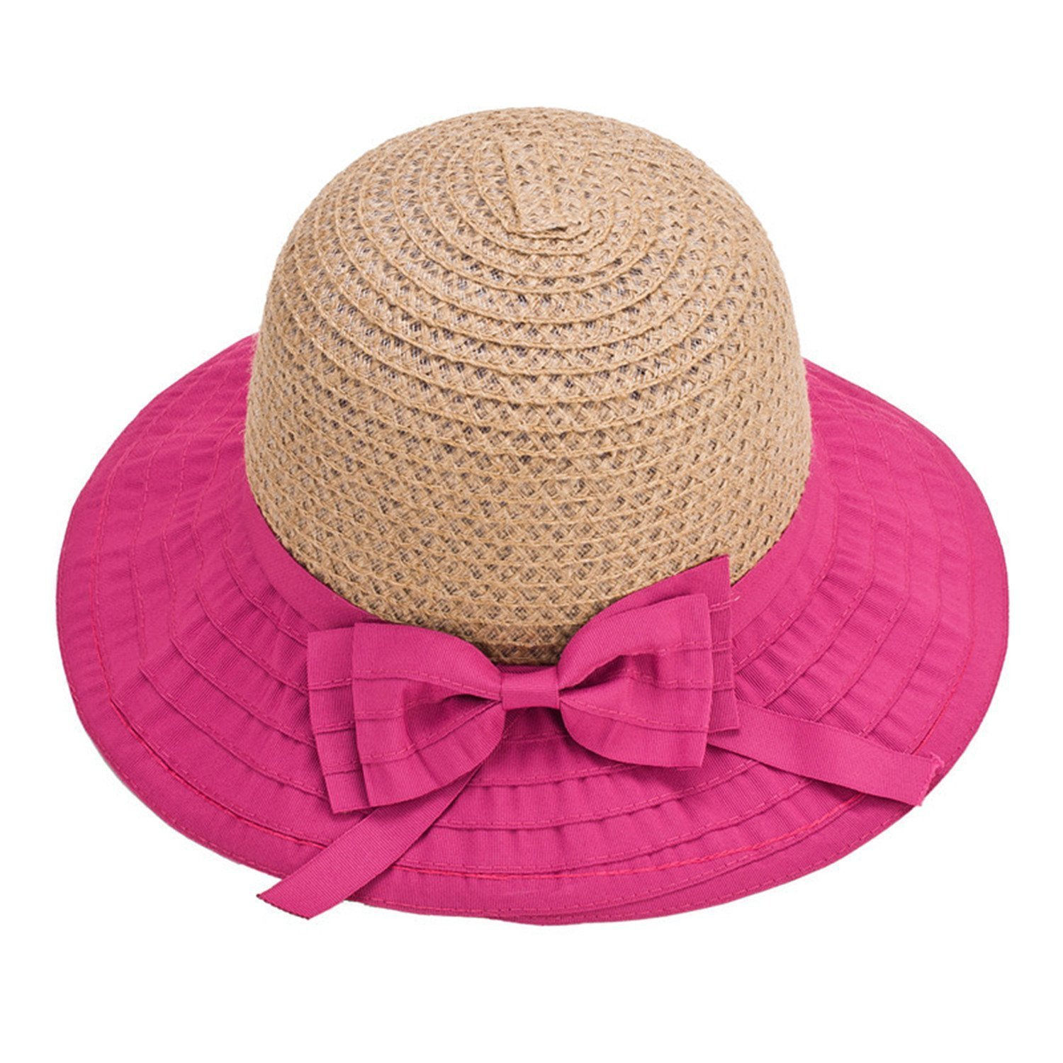 44d00680aea Amazon.com  Mainstream Women Sun Hats Classic Foldable Patchwork Wide Brim  Straw Hat Nice Bow Summer Boater Hat Lady Hats Beach  Cap