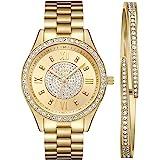 JBW Luxury Women's Mondrian 16 Diamonds & Swarovski Crystal Encrusted Bezel and Bracelet Set