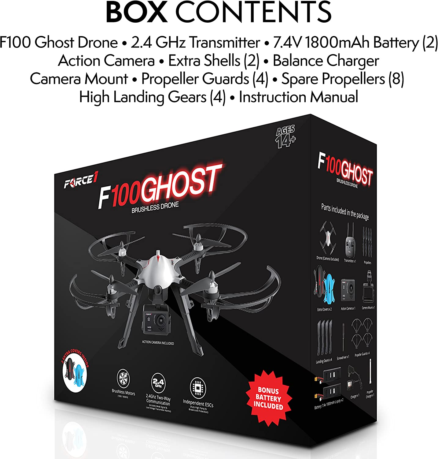 Force1 F100 Ghost Drone with Camera Compatible Go Pro Drone with ...