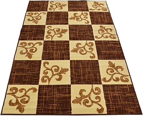 Normian Collection Checkered Floral Abstract Squares Geometric Design Area Rug Rugs Modern Contemporary Area Rug 3 Color Options Brown, 3 3 x 4 7