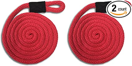 """Solid Braid Nylon Dock Line Fade Proof USA Made 1//2/"""" x 15/' RED Floats"""