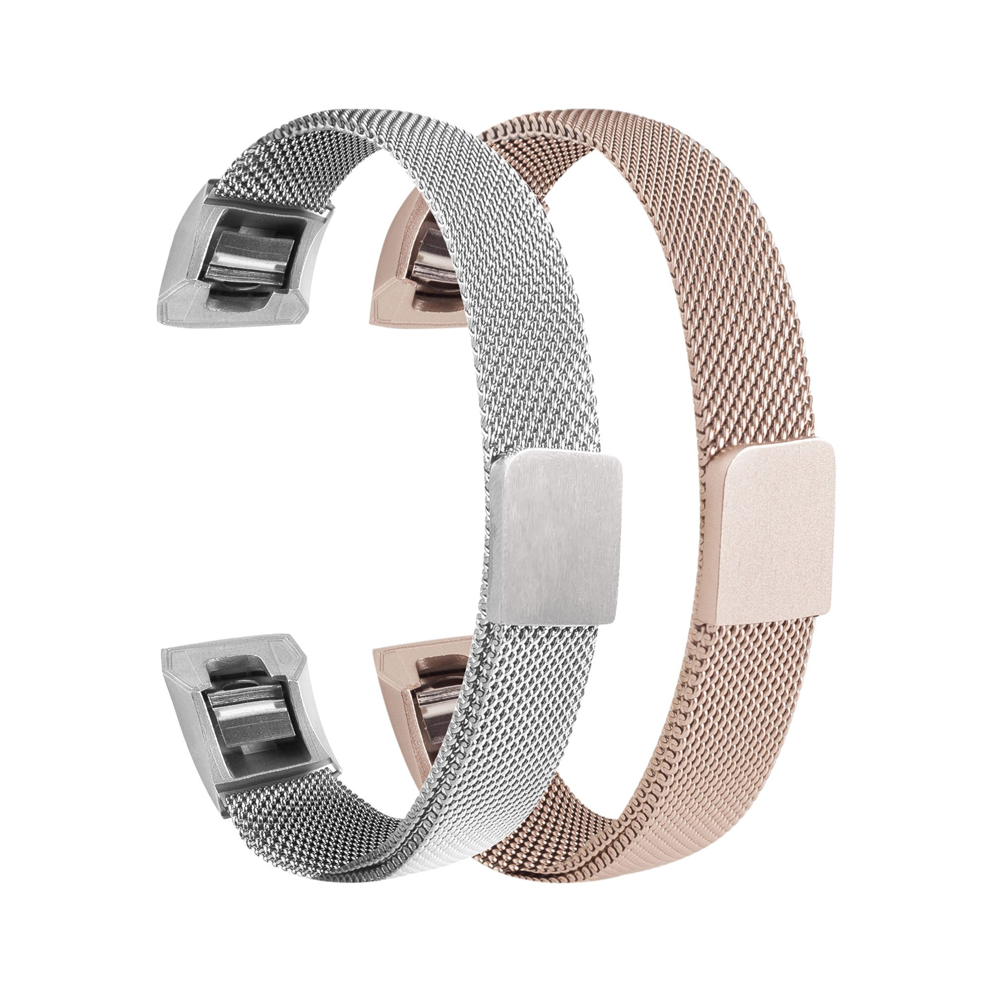 Bewish 2 Pcs Milanese Loop Stainless Steel Watch Band Bracelet for Fitbit Alta/Alta HR Magnet Clasp Lock Adjustable Replacement Watch Strap (S, Silver & Champagne)