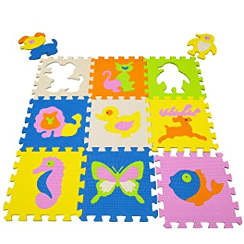 qqpp Alfombra Puzzle para Niños Bebe Infantil - Suelo de Goma EVA Suave. 9 Piezas (30*30*1cm), Animales. QQP-36b9N