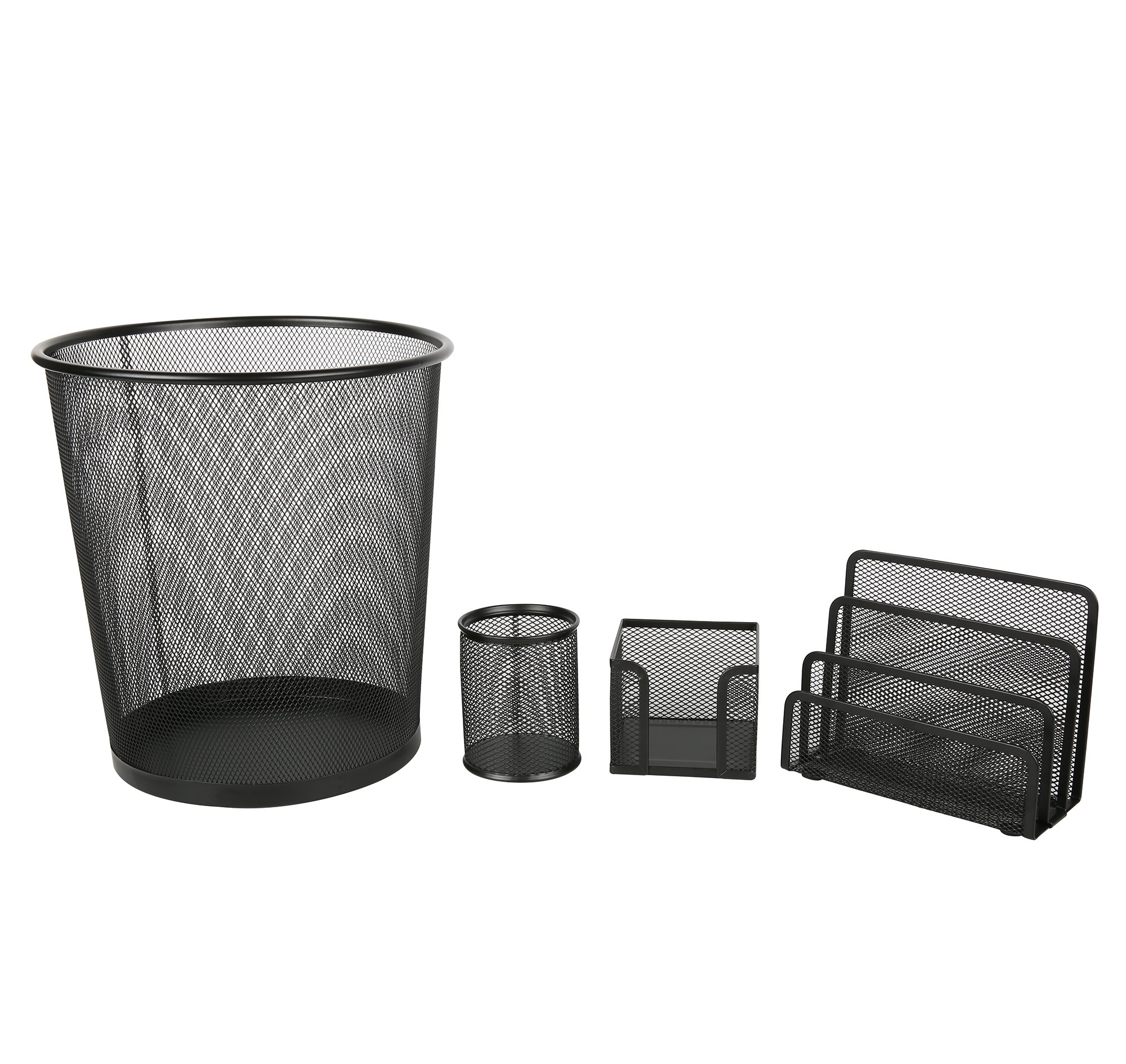 Exerz Deluxe Mesh Office Set 4 Pcs – Include Mesh Bin, Letter Shelf/Holder/Rack, Memo Holder, Pen Holder/Pot. Sleek and Anti-Scratch Design, Suitable for Office, Home Office, School, Study -Black by Exerz