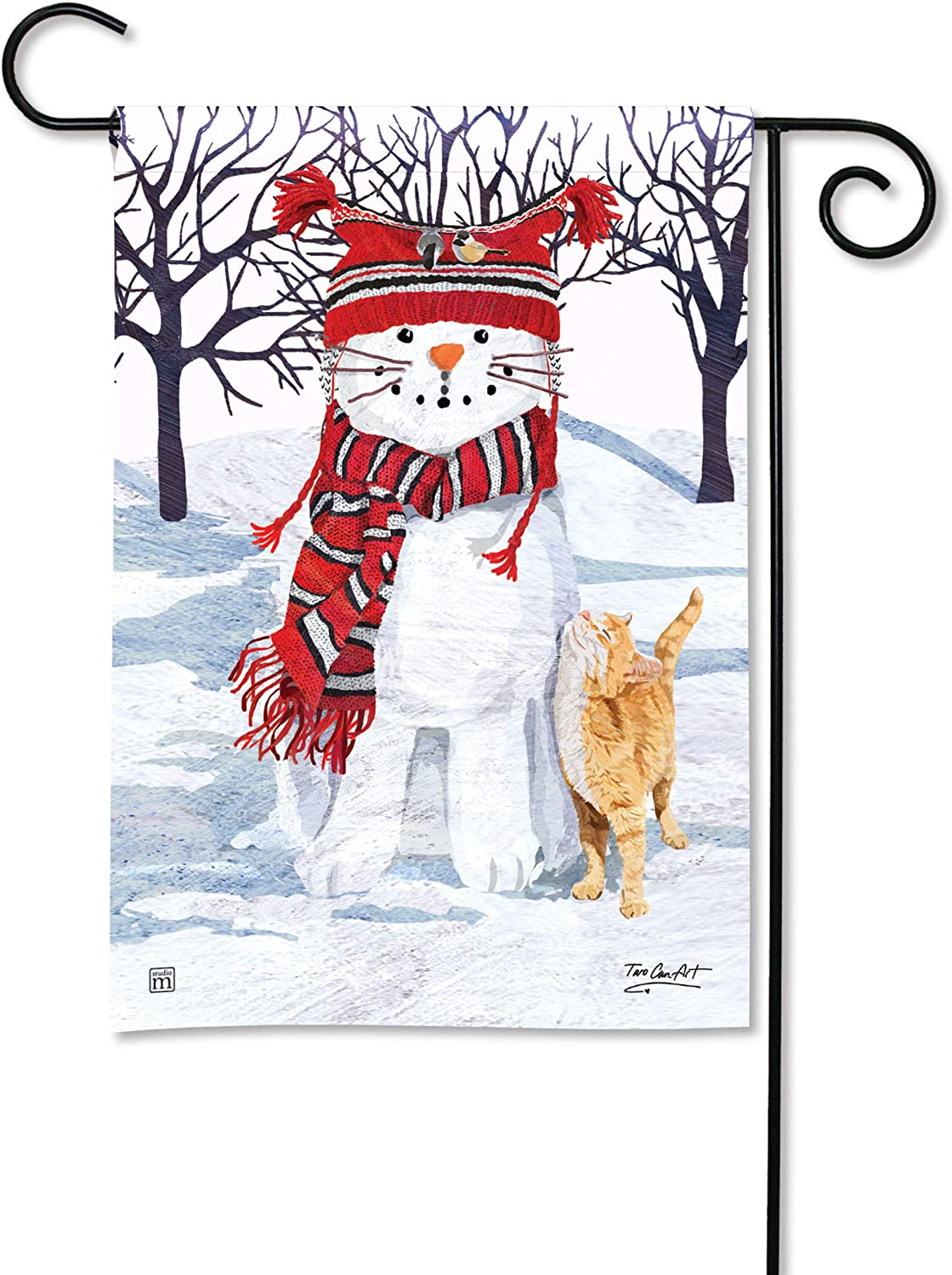 BreezeArt Studio M Snow Cat Fall/Winter Decorative Garden Flag – Premium Quality, 12.5 x 18 Inches