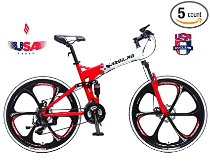 f05b0cbf710 Image Unavailable. Image not available for. Color: Virsilas Folding  Mountain Bike - Full Suspension ...