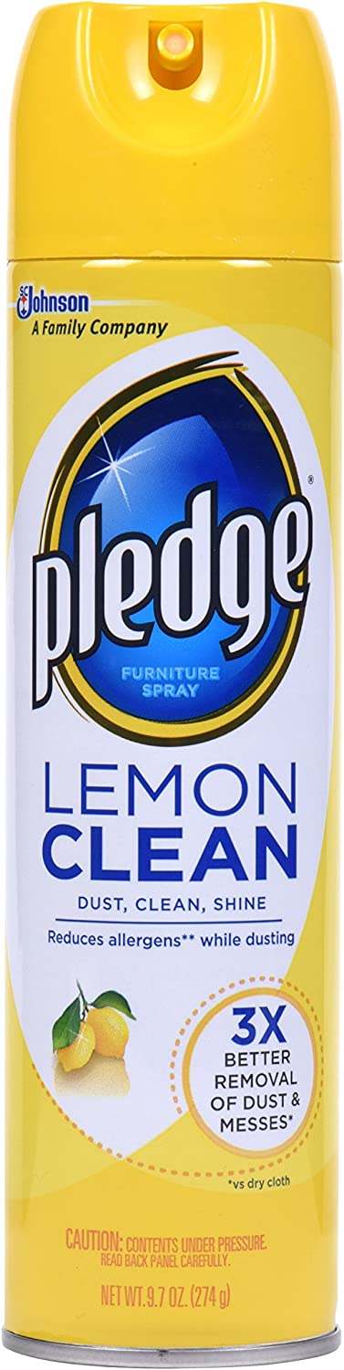 Pledge Multisurface Cleaner Spray, Works on Leather, Granite, Wood, and Stainless Steal, Lemon, 9.7 oz - Pack of 3