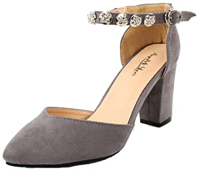 0fe009779f59f AgeeMi Shoes Women Pointed Toe D Orsay Block Heel Ankle Strap Pumps with  Buckle Light
