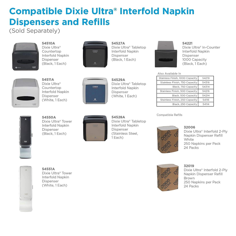 "7.600/"" W x 6.100/"" D x 7.200/"" H Holds 275 Napkins Black Dixie Ultra Tabletop Interfold Napkin Dispenser by GP PRO 54527A Georgia-Pacific"