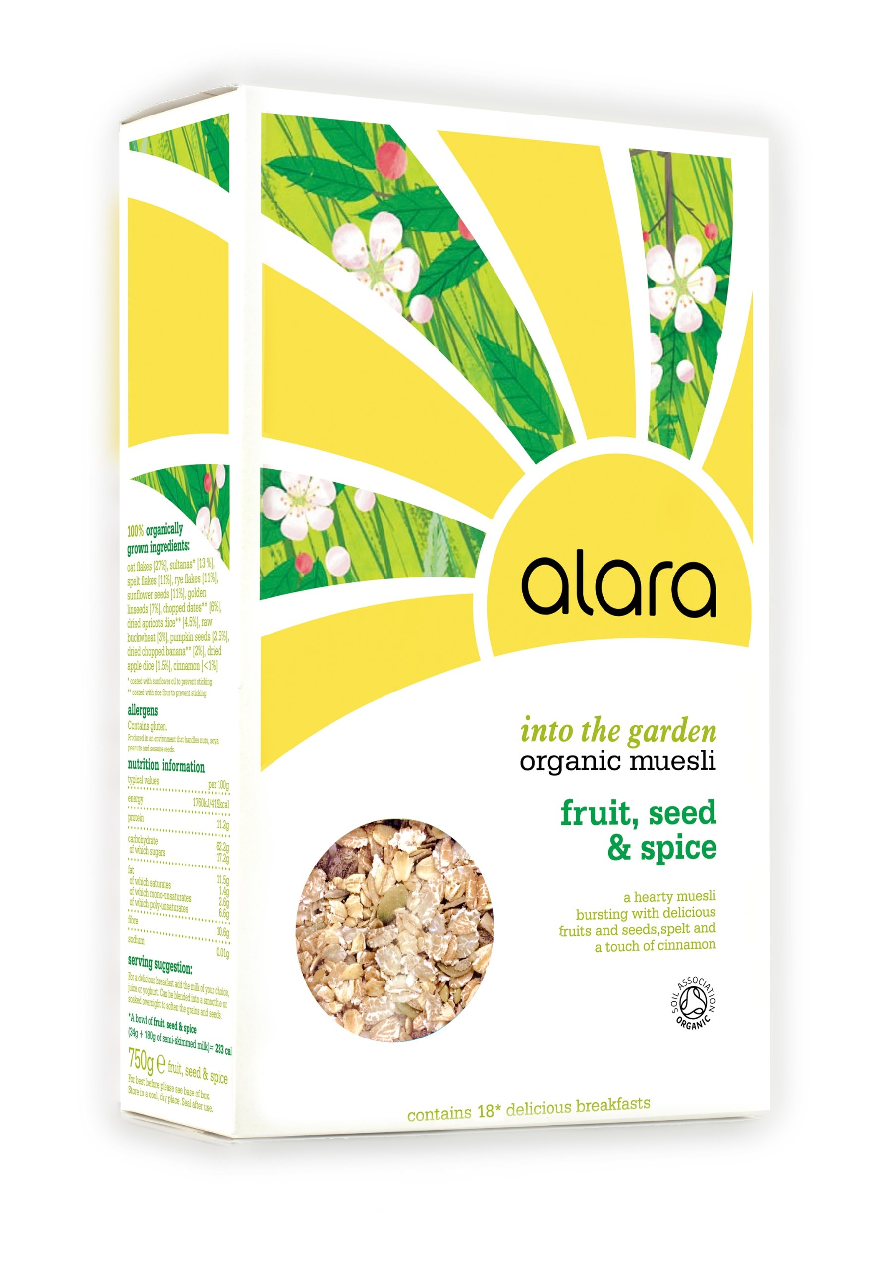 Alara Into the Garden Fruit, Seed and Spice Organic Muesli 750 g (Pack of 5)