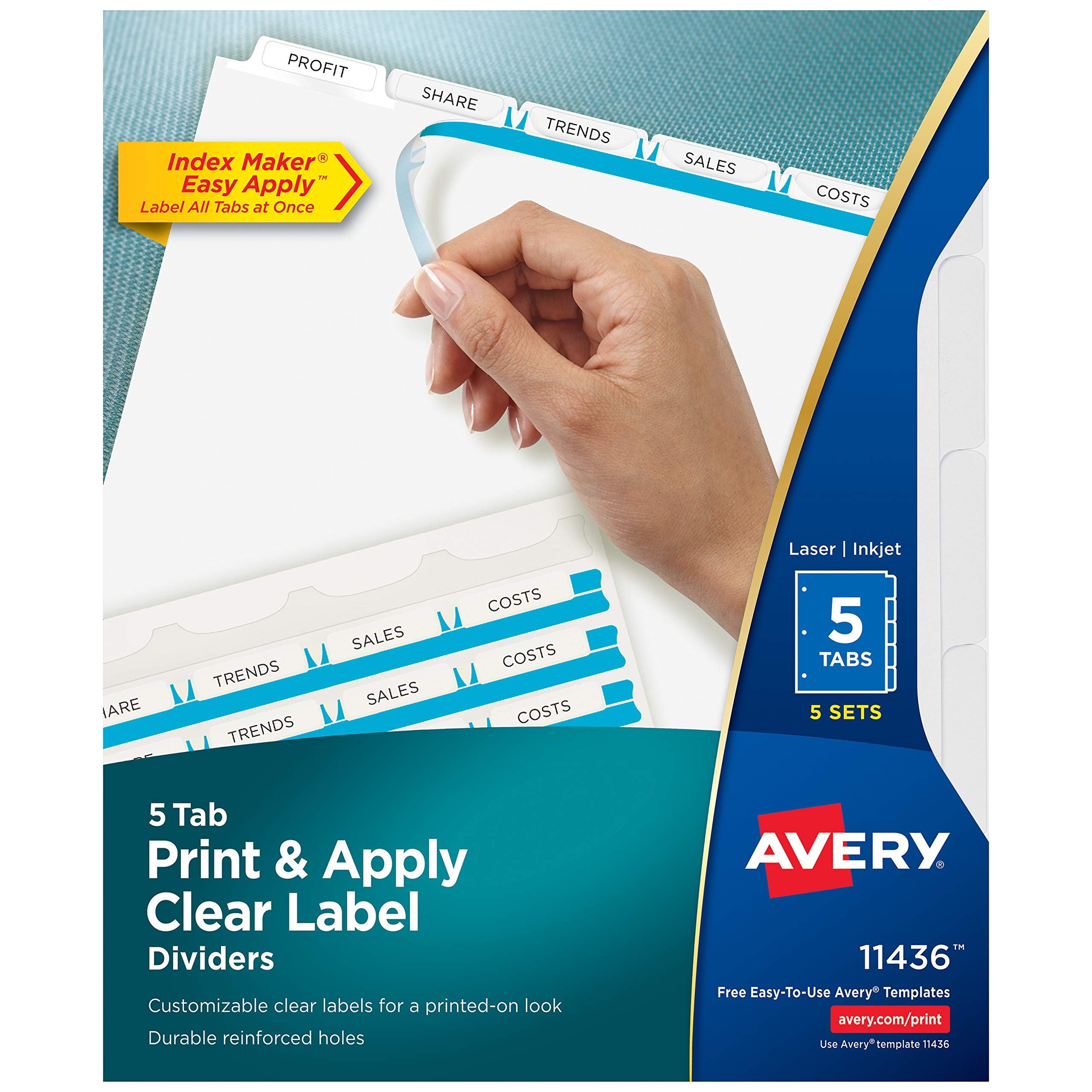 Avery 5-Tab Binder Dividers, Easy Print & Apply Clear Label Strip, Index Maker, White Tabs, 5 Sets (11436) by Avery