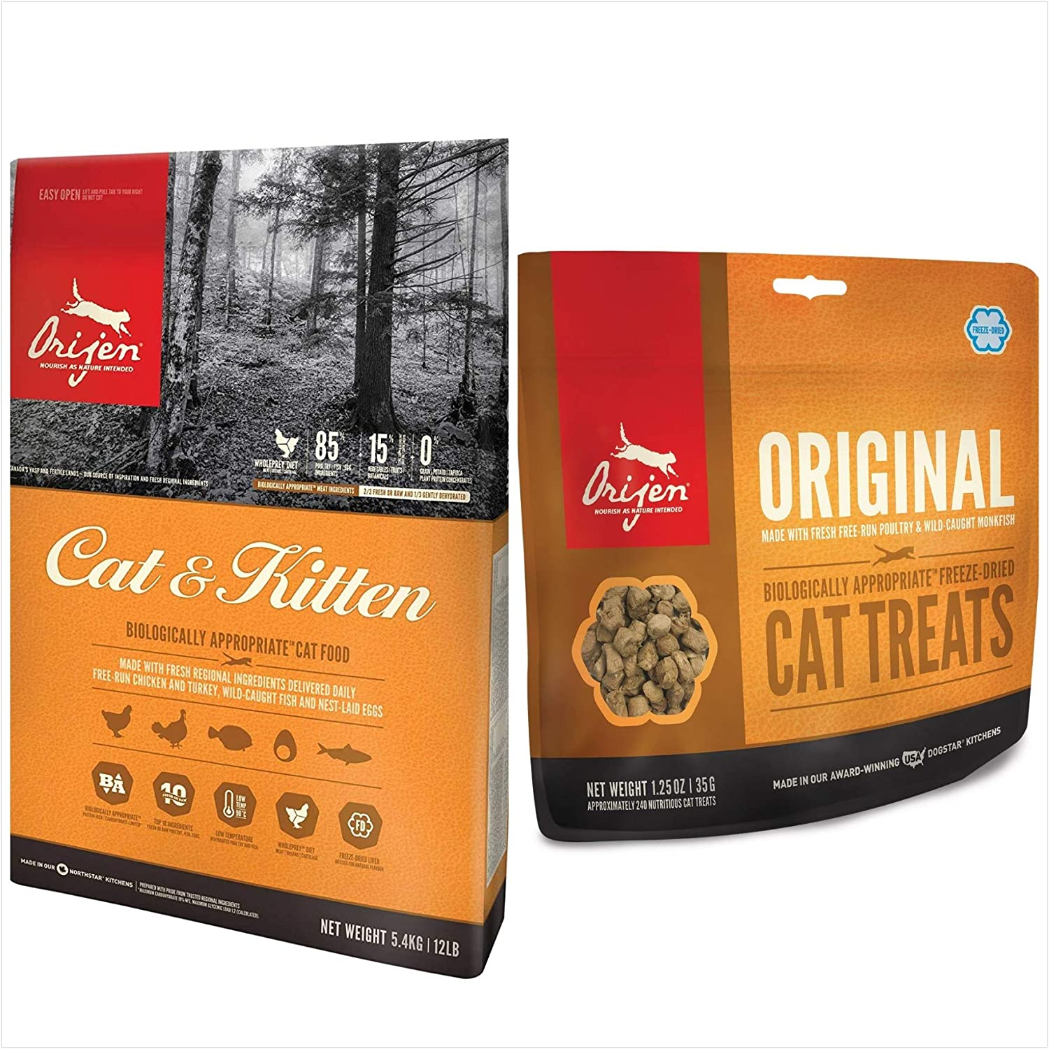Orijen Original Cat & Kitten Food and Treat Bundle. Featuring (1) Cat & Kitten Food 12 lb. Bag. & (1) Original Cat Treat 1.25 oz.