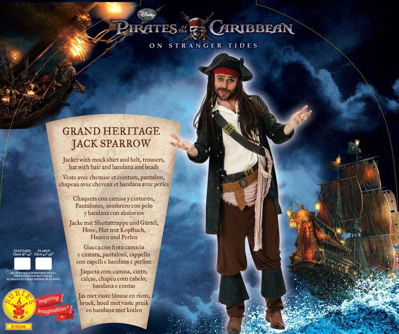 f3abbbfafaf23 Rubie s Official Adult s Disney Jack Sparrow Costume Pirates of The  Caribbean - Standard  Amazon.co.uk  Toys   Games