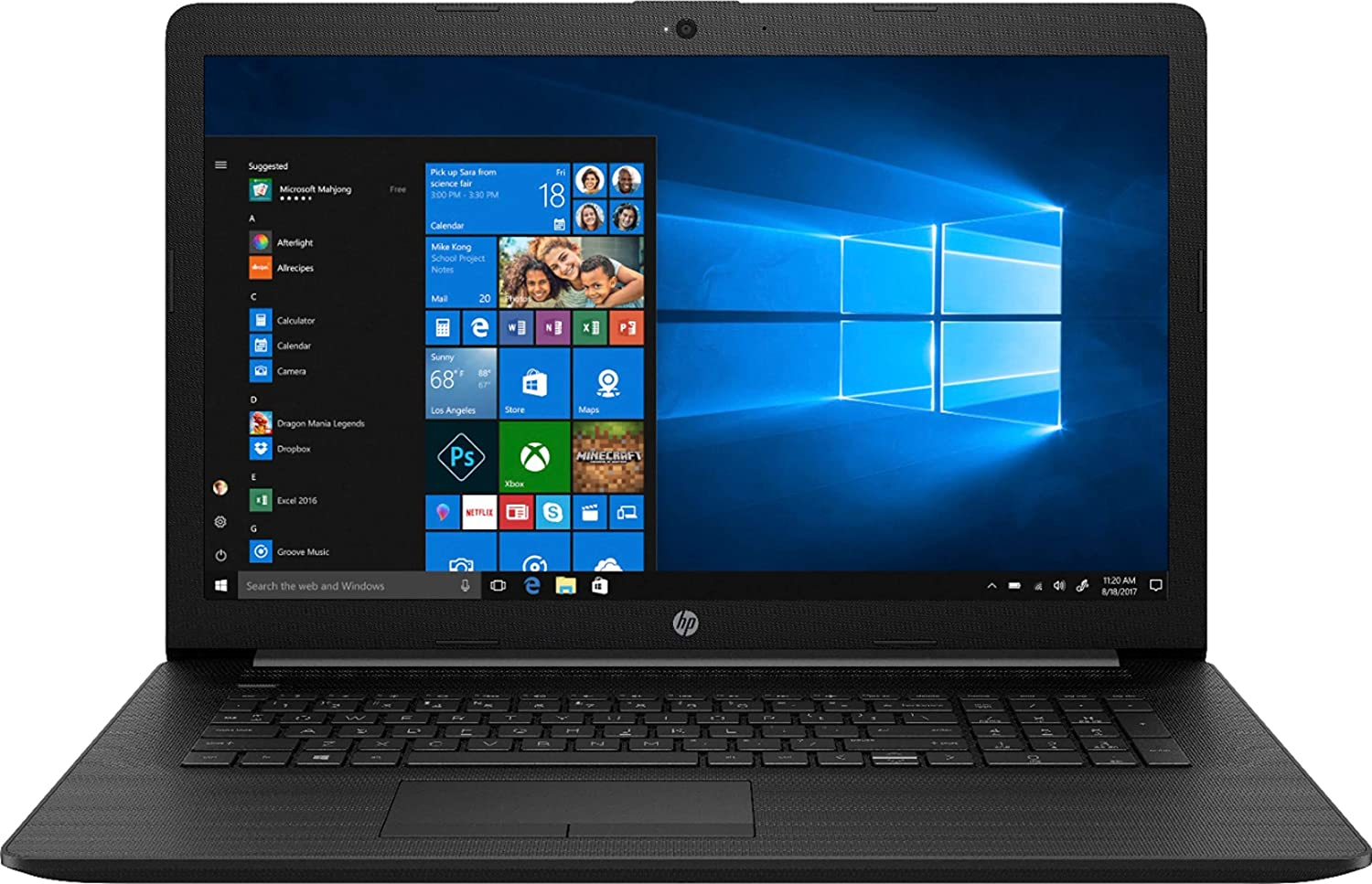 HP (17-BY1053DX) 17.3 Laptop - Core i5-8265U - 8GB Memory - 256GB Solid State Drive - Jet Black/Maglia Pattern (Renewed)