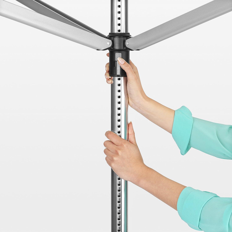 Acero Inoxidable Brabantia Lift-O-Matic Tendedero de Jard/ín con Soporte y Funda 50 m Gris Metalizado