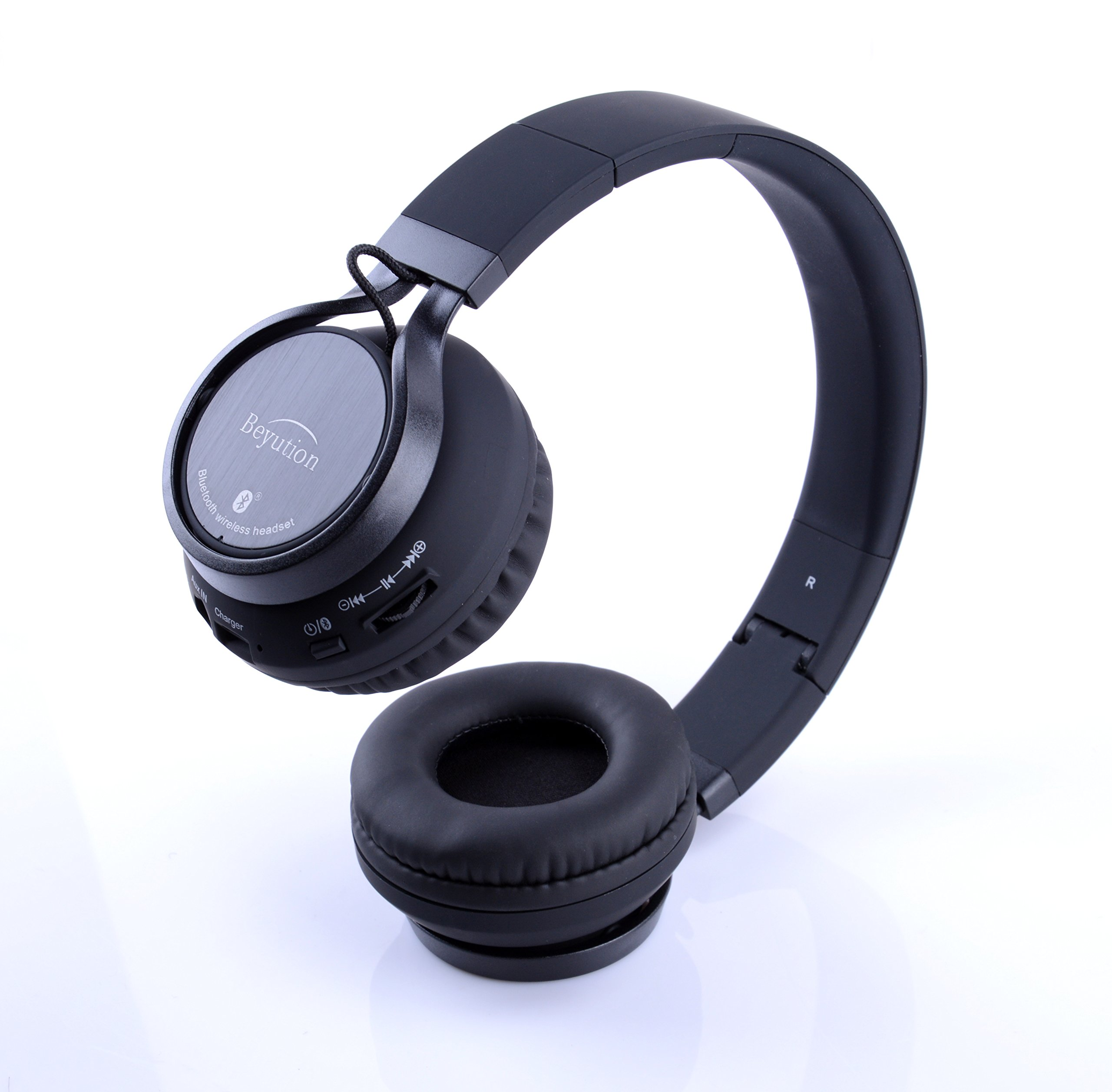 Beyution Black Metal Wireless Bluetooth Headsets Over Ear Bluetooth Headphones with Mic for iPhone 8 X Samsung Smart Phones and All Tablet Laptop with Bluetooth Funcstion (BT525-Black-Metal) by Beyution (Image #8)