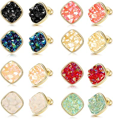Strawberry Gold Faux Druzy Square Stud Earrings 12mm
