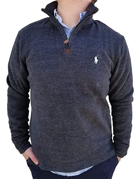 Polo Ralph Lauren Men's Half Zip French Rib Pony Logo Cotton Pullover Sweater