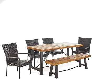 Great Deal Furniture Salla Outdoor Acacia Wood Dining Set