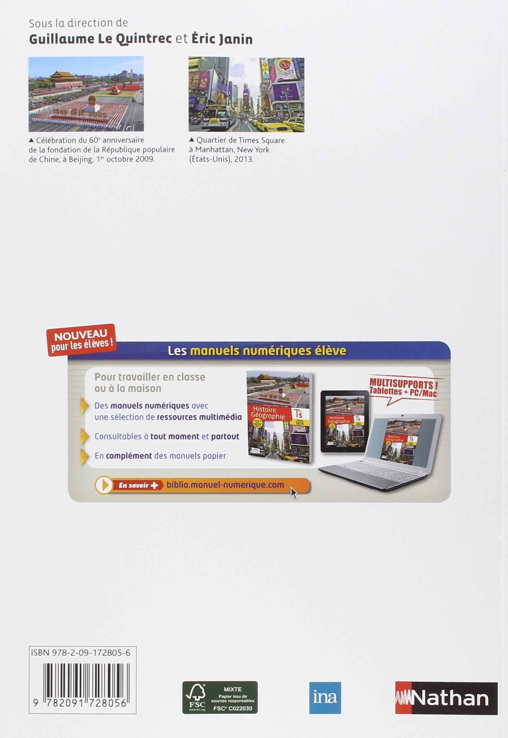 Histoire Géographie Tle S : Livre de lélève: Guillaume Le Quintrec, Eric Janin, Collectif: 9782091728056: Amazon.com: Books