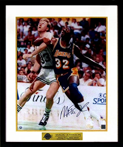 6b882e56caf LA Lakers Magic Johnson Autographed (vs. Bird) 16x20 Photograph with  Floating Plate Framed (COA) at Amazon s Sports Collectibles Store
