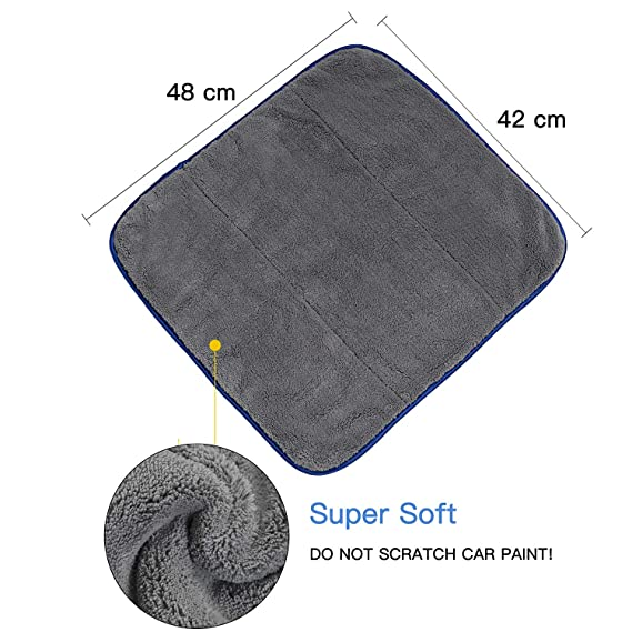 Geabon Toalla de Limpieza Coche 1200GSM, Toalla de Secado del coche16.5 x19 Pulgadas, Toalla de Limpieza de Microfibra para la Colada Coche, el Pulido, ...