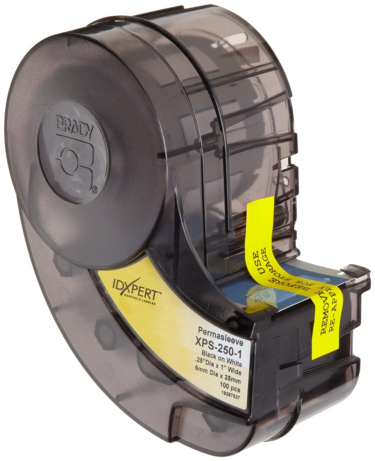Brady XPS-125-1 IDXPERT PermaSleeve 0.235 Height 100 Per Cartridge B-342 Heat-Shrink Polyolefin 1.015 Width Black On White Color Wire Marker Sleeves