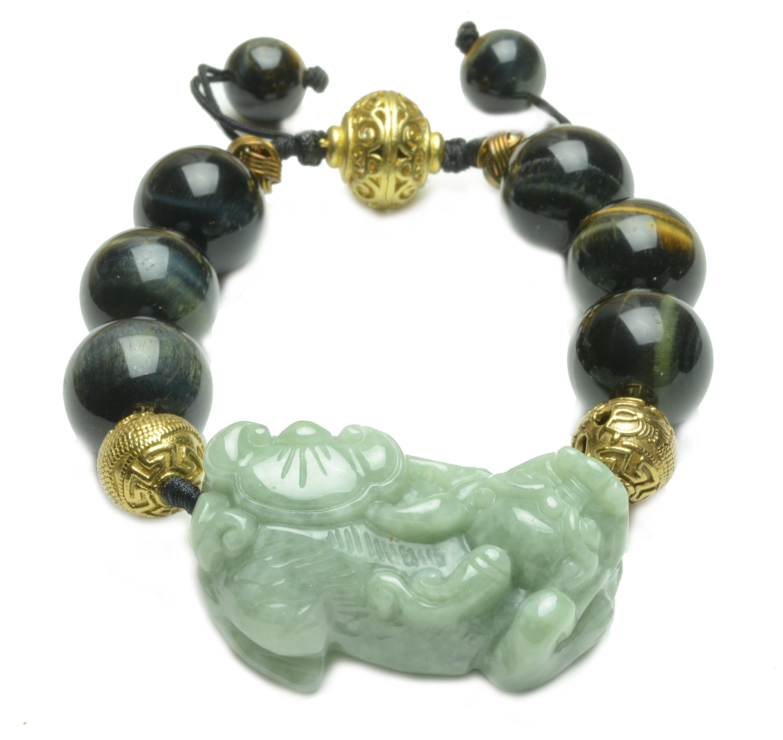 Rolling In Fortune Green Jade Tiger Black Tiger Eye Beaded Amulet Bracelet-Fortune Jade Jewelry by Fortune Jewelry & Healing Beauty
