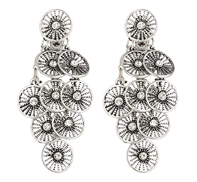 Clip On Earrings - Antique Silver Plated With Black Crystals - Bisa by Bello London ufvIfcF