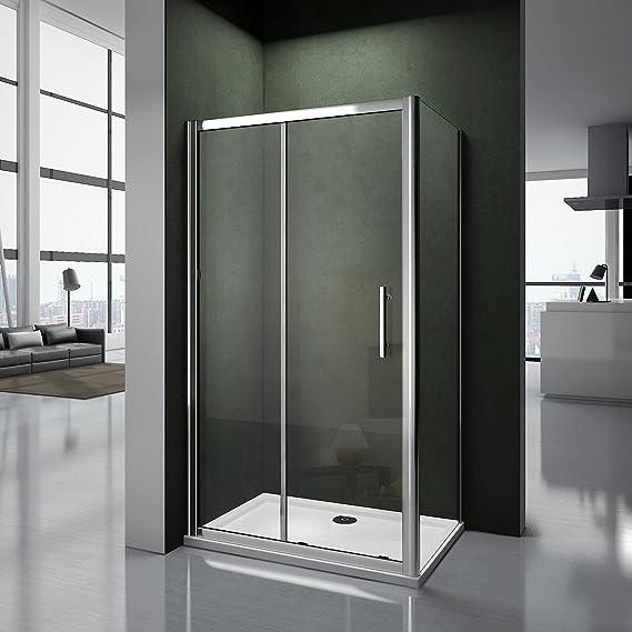 Mampara para hueco de ducha, puerta corredera, de cristal templado ...