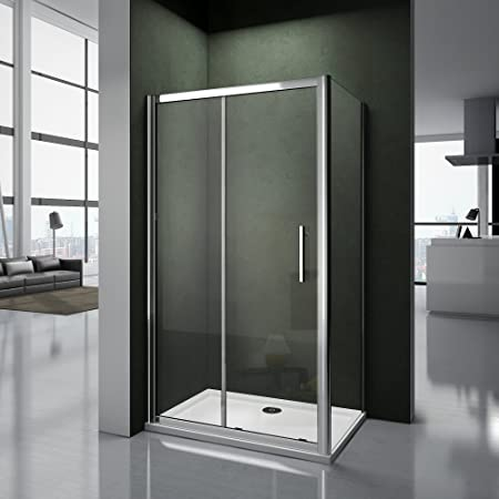Mampara para hueco de ducha, puerta corredera, de cristal templado transparente, de 185 cm de altura, transparente: Amazon.es: Bricolaje y herramientas