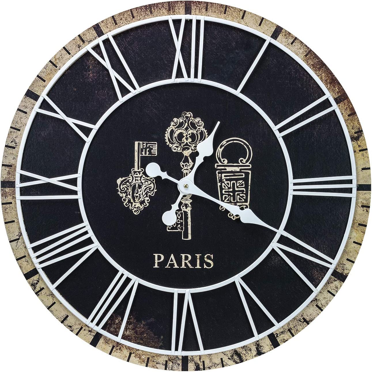 Sorbus Large Decorative Paris Wall Clock, 24 Round Centurion Roman Numeral Hands, Parisian French Country Rustic Modern Black Farmhouse Decor, Analog Wood Metal Clock
