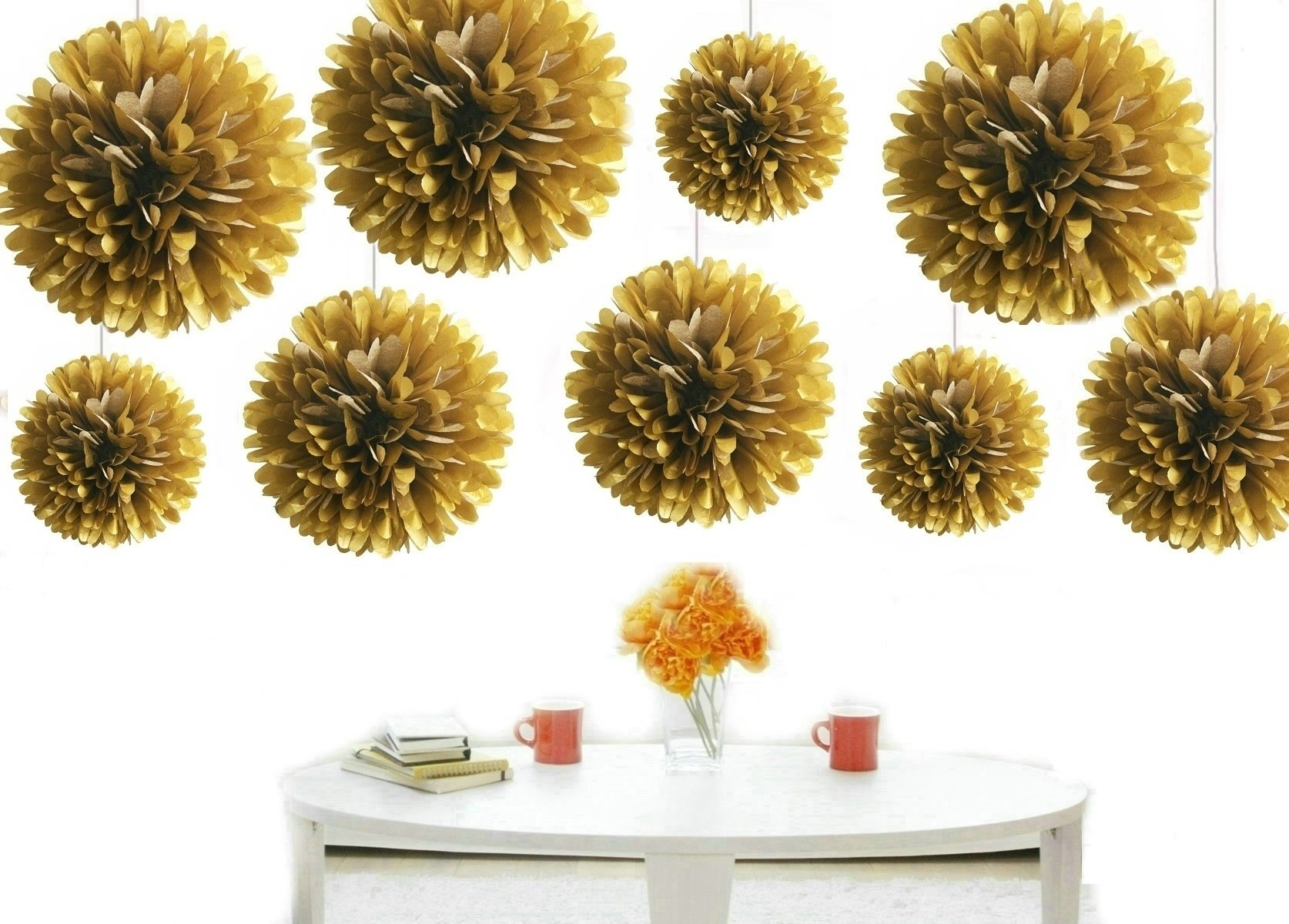 Kubert® 12PCS Mixed 8'' 10'' 14'' Sizes Gold Party Tissue Paper Flower Pom Poms Wedding Pompoms Garland Birthday Party Baby Room Nursery Decoration - Pom Poms Ball Blooms Tissue Paper Flowers by Kubert (Image #1)