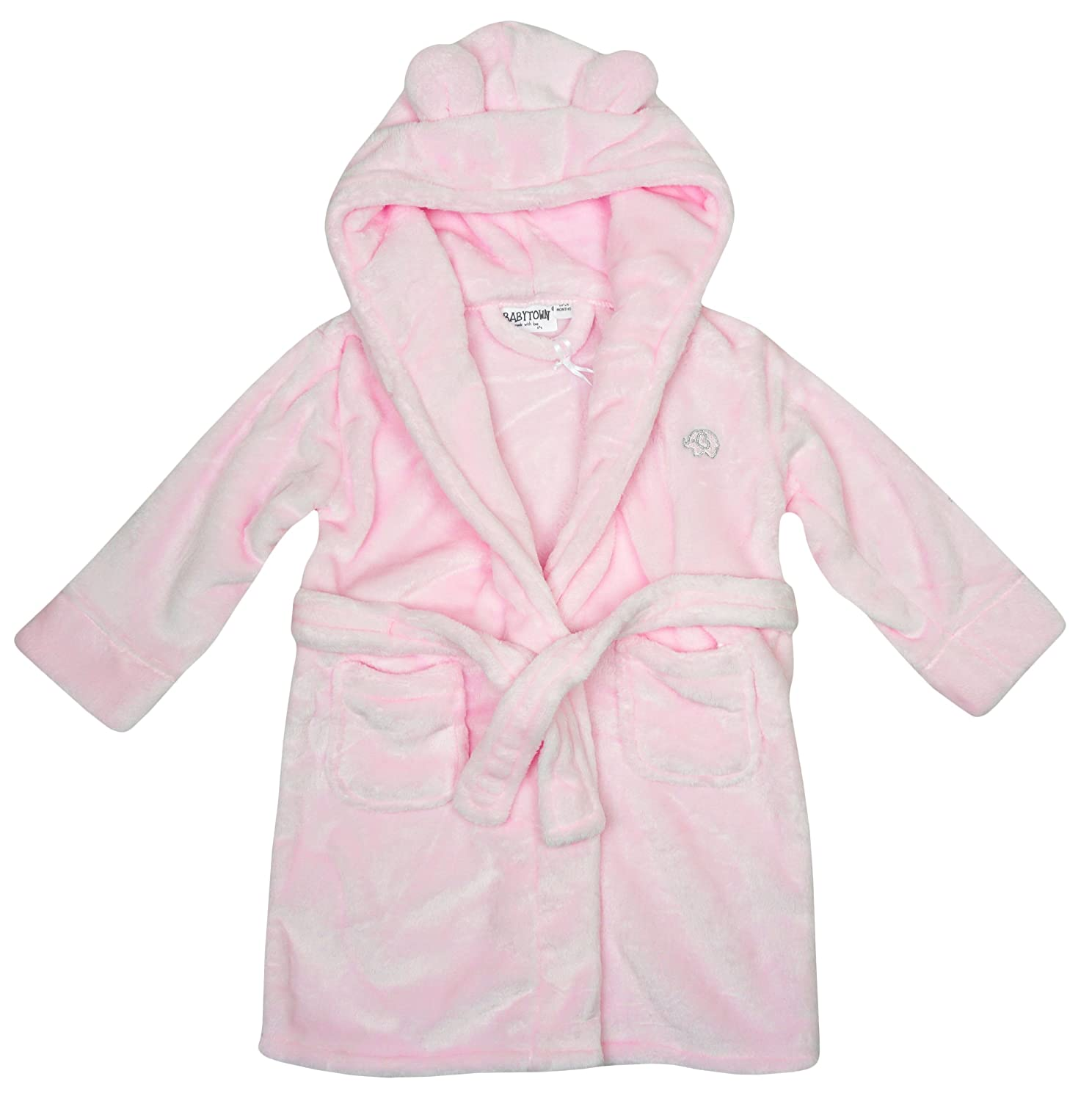 BabyTown Girls Baby Toddler Elephant Motif Hooded Dressing Gown Pink Sizes From 6 To 24 Months 18C203
