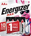 Energizer AA Batteries (4 Count), Double A Max Alkaline Battery