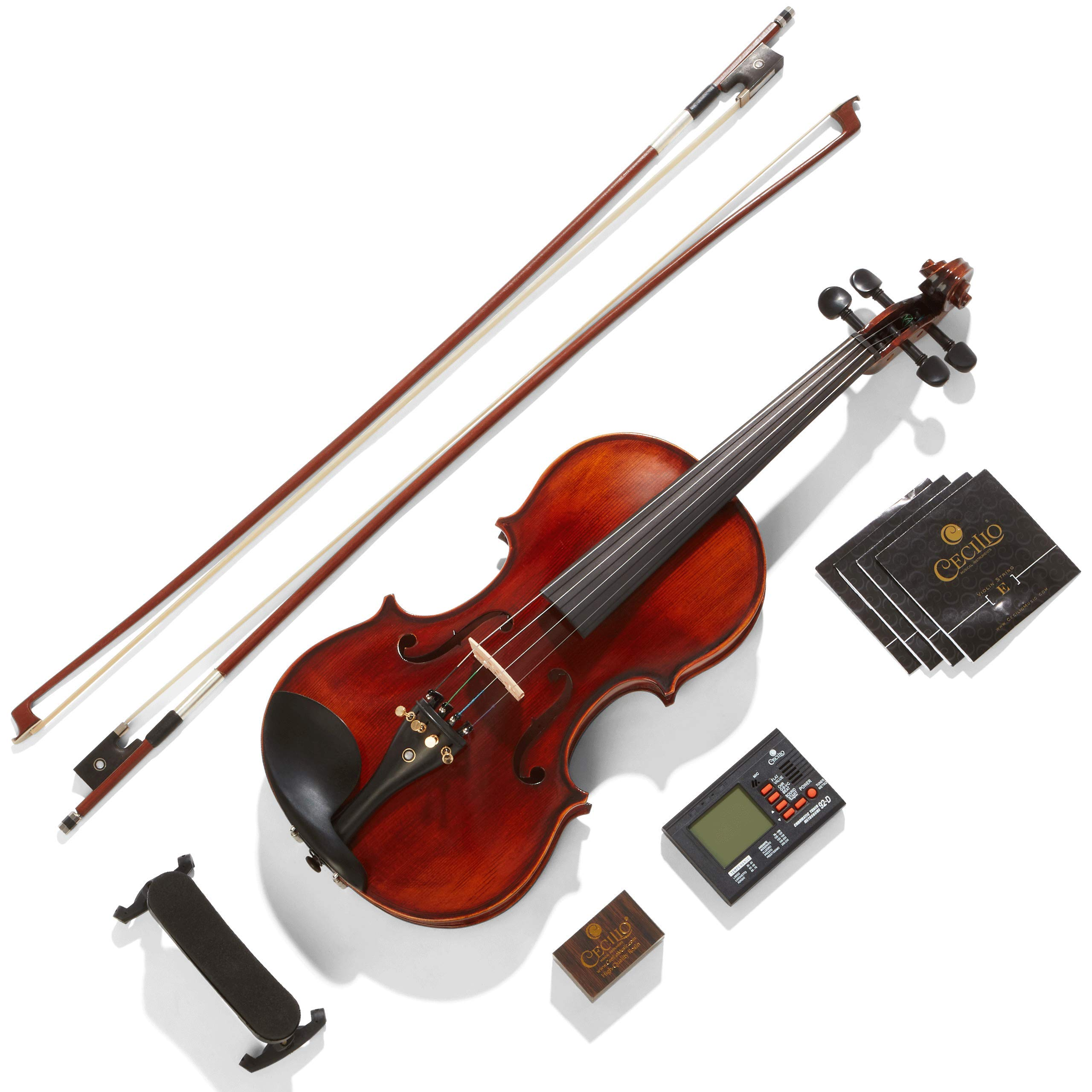 Mendini By Cecilio Violin - MV500+92D - Size 4/4 (Full Size), Black Solid Wood - Flamed, 1-Piece Violins w/Case, Tuner, Shoulder Rest, Bow, Rosin, Bridge & Strings - Adult, Kids