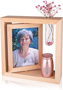 Personalized Memorial Picture Frames for Loss of Loved One &Tree of Life Custom Small Urn for Human Ashes with Photo&Text -Sympathy Gifts for Loss of Loved One (Photo Frame-Rose Golden Urn)