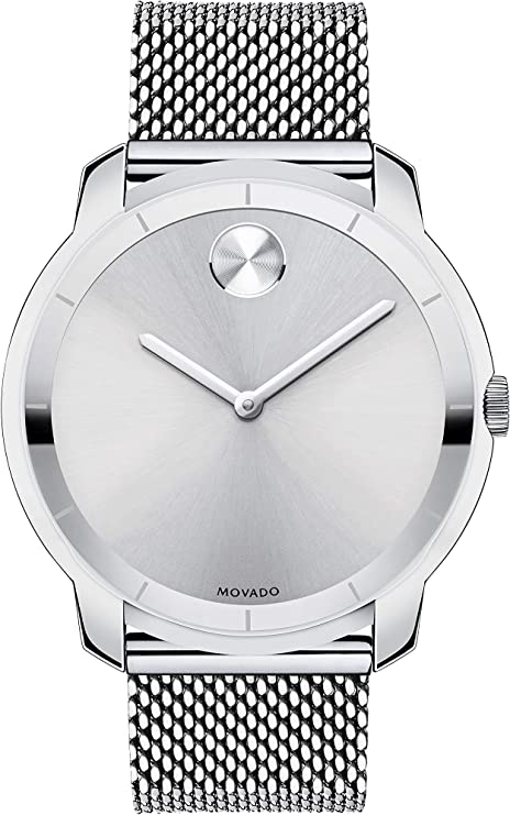 Movado Thin Stainless Steel Men's Watch with a Printed Index Dial
