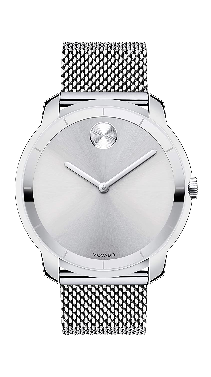 3859ab9bb Amazon.com: Movado Men's Bold Thin Stainless Steel Watch with a Printed  Index Dial, Silver (Model 3600260): Watches