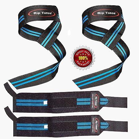 crossfit allenamento per la forza e di potenziamento reggipolso unisex per sollevamento pesi ebook incluso Rip Toned polsiera professionale da 45,7 cm con anello per pollice
