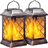 TomCare Solar Lights Outdoor Flickering Flame Metal Solar Lantern Outdoor Hanging Decorative Lanterns Heavy Duty…