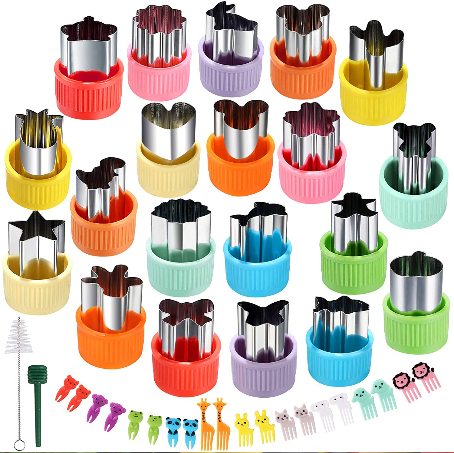 XIYUMINHONG Vegetable Cutter Shape Set,Mini Pie,Fruit and Biscuit Stamp Mold,Biscuit Cutter to Decorate Food, Children's Baking and Food Supplement tool Accessories Kitchen Crafts.(20PCS+20forks)