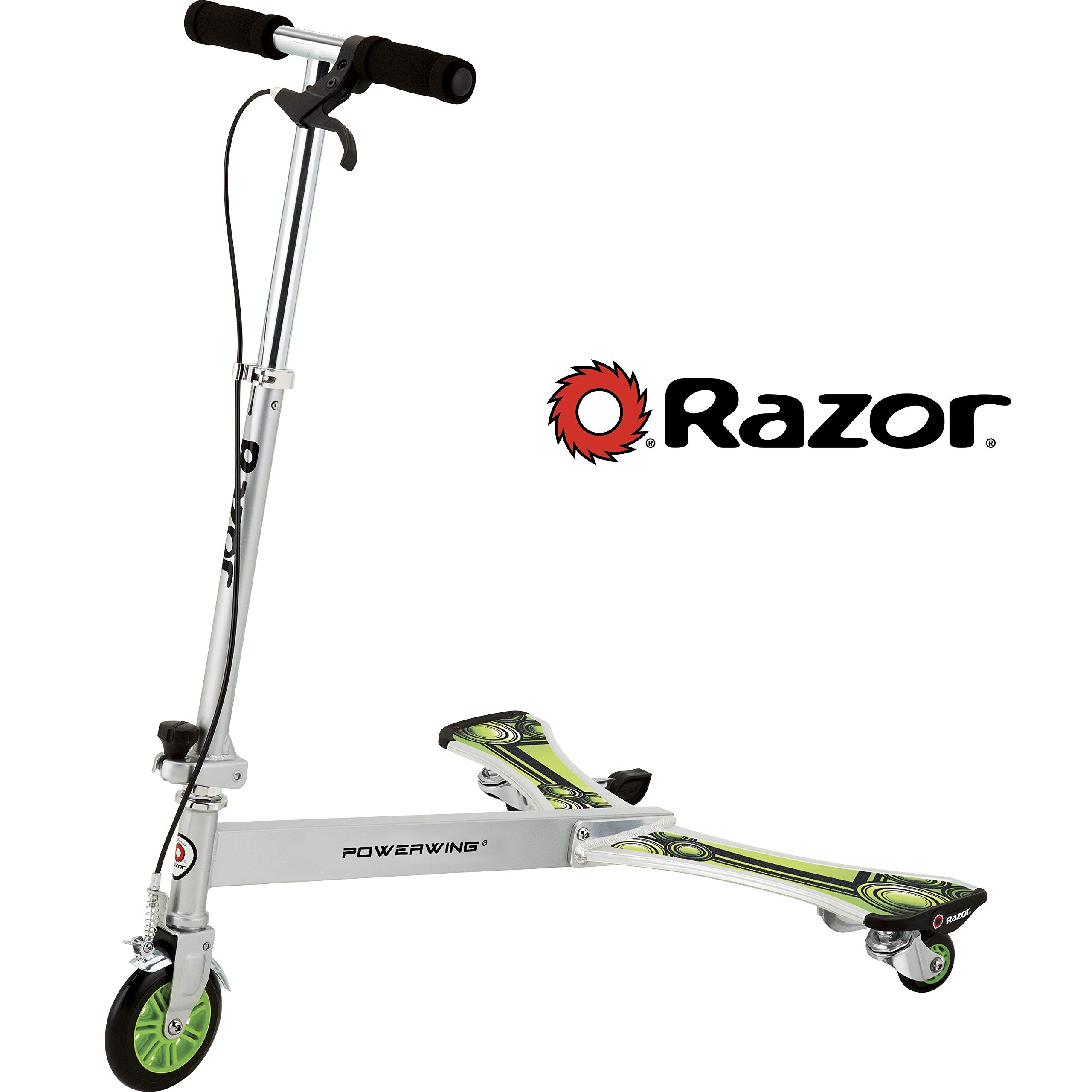 Razor PowerWing DLX Caster Scooter - Silver/Green by Razor