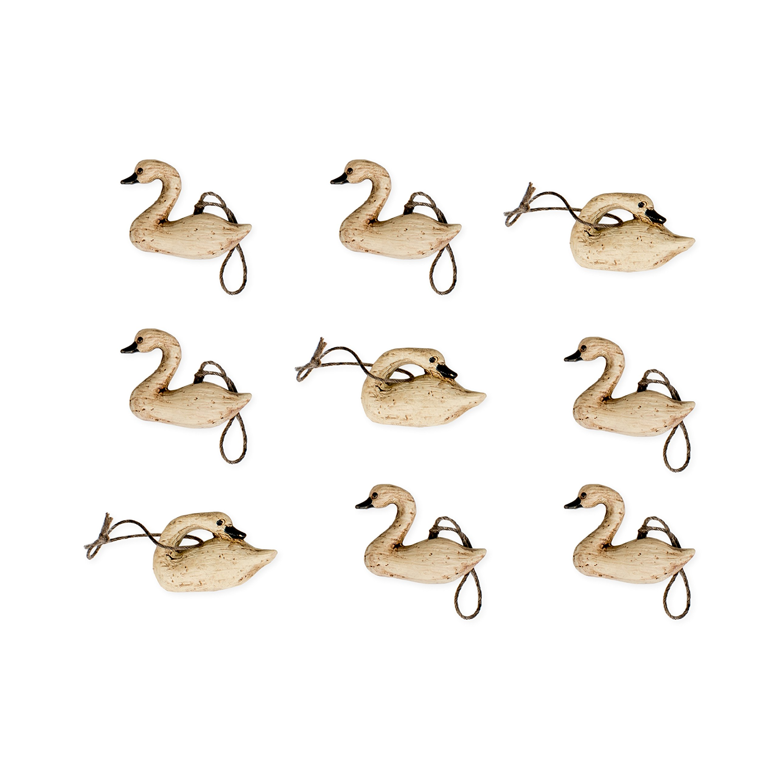 Distressed Wood Look Miniature Swan 1 inch Christmas Ornament Set of 9