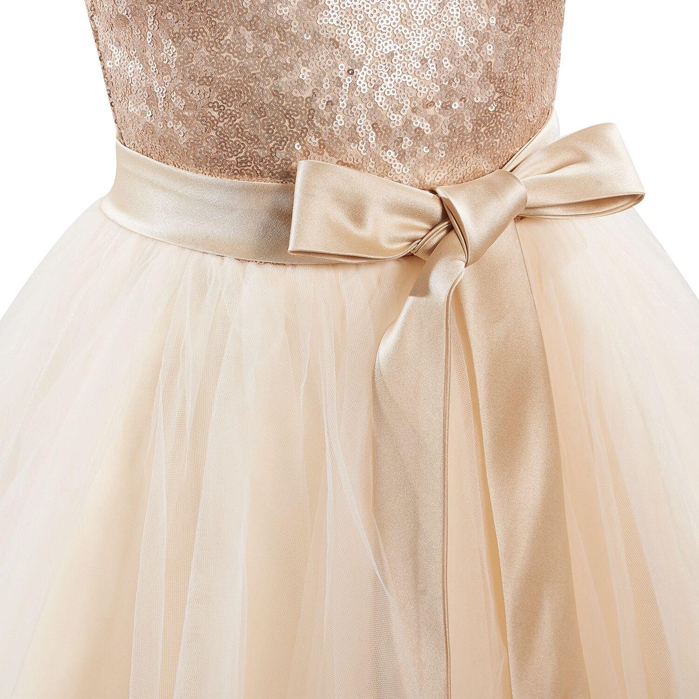 Miama Champagne Sequin Tulle Cap Sleeves Wedding Flower Girl Dress Christening Communion Dress